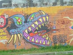 wubik 50 (en-ri) Tags: yokr dragone dragon drago lilla arancione torino wall muro graffiti writing parco dora rosso giallo verde azzurro