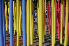 Poles and Colours (steve_whitmarsh) Tags: london city urban architecture building sculpture art colour yellow blue red topic