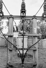 Outgoing (russell_w_b) Tags: electricitytransmissionanddistribution 33kv highvoltageelectricitydistribution cumbria cumberland prakticamtl3 fomapan100 ilfordid11