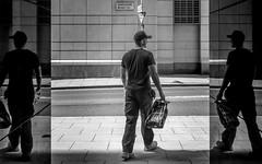 Look Both Ways (Sean Batten) Tags: london england unitedkingdom gb europe eastlondon canarywharf docklands streetphotography street blackandwhite bw city urban road nikon d800 50mm reflection person pavement hertsmereroad e14 sign roadsign
