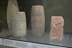 London, England, UK - British Museum - Mesopotamia - Terracotta Cylinders Describing Nebuchadnezzar's Building Works, 605-562 BC (jrozwado) Tags: europe uk unitedkingdom england london museum britishmuseum history culture anthropology mesopotamia cuneiform