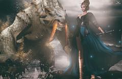 Miranda~Once upon a time.. (Skip Staheli *10 YEARS SL PHOTOGRAPHER*) Tags: skipstaheli secondlife sl avatar mirandabrinner dragon fantasy dreamy virtualworld digitalpainting storytelling water splash sparkle sword monster