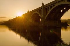 The Susquehanna River (SunnyDazzled) Tags: bridge sunset golden flare sun reflection columbiawrightsville susquehanna river lancaster pennsylvania landmark water concrete arch history engineering polarizer hdr layers