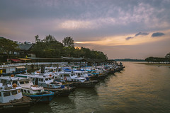 Boats (Rapufro) Tags: boats singapore sunset changi village beach park sky water trees boat tree