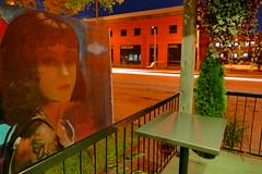 On a Closed Café's terrace with Urban Art Portrait (@mjmantis Montreal Urban Photos) Tags: montreal streetphotography mtl streetart canada graffitiart nightphotography urban night street graffiti streetscene car streetphoto urbanart portrait nighttime urbanlife
