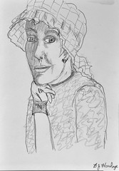 Old Woman - by Mom (BKHagar *Kim*) Tags: bkhagar art artwork artday sketch pencil drawing watercolor watercolour lady hat portrait