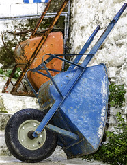 6587 One wheel for my barrows ! (foxxyg2) Tags: blue orange barrow wheelbarrow wheel gardening naxos greece cyclades