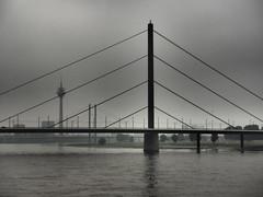 Düsseldorf am Rhein (Pico 69) Tags: fernsehturm brücke schiff schifffahrt rhein wasser üfer fluss nrw pico69