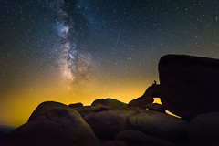 Dreaming of a Distant World (Noah L. Photography) Tags: milky way star stars nature landscape sky air night nightscape astro astrophotography astronomy rock rocks fire wildfire holyfire perseid meteor shower meteorshower shootingstar joshuatree joshuatreenationalpark california