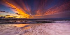 Indian Ocean sunset (snowyturner) Tags: bunbury westernaustralia beach swash waves ocean sunset landscape panorama sand clouds
