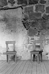Empty chairs (Dan Denison) Tags: lonely chairs solitude black white film hp5 rodinal vintage pentax ricoh kr5 lomo