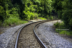 Around the Bend (Photographybyjw) Tags: around bend railroad tracks making gentle curve through country side north carolina photographybyjw rural foliage trees rails rocks