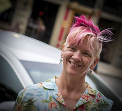 Street Portrait Project..... (Kevin Povenz Thanks for all the views and comments) Tags: 2018 june kevinpovenz westmichigan michigan ottawa ottawacounty holland hollandstreetperformers street streetphotography streetportrait portrait female girl colorful hair pink pinkhair canon7dmarkii 50mm canon50mm