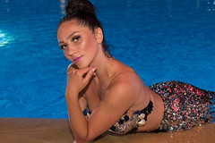Swimming (Paul Saad) Tags: model colors pretty woman girl smiling smile lebanon beirut sea beach dusk dawn sun portrait swimsuit ocean water performer