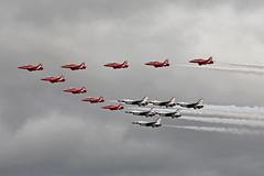 RAF Red Arrows and USAF Thunderbirds RAF Fairford RIAT 14th July 2017 (michael_hibbins) Tags: raf red arrows usaf thunderbirds fairford riat 14th july 2017 aircraft aeroplane aviation aerospace airplane aero airshow