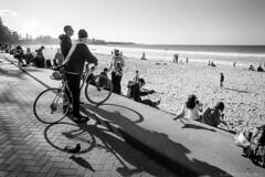 Manly beach, Sydney, winter 2018  #984 (lynnb's snaps) Tags: 35mm manly xtol bw blackandwhite film winter leicaiiif leicafilmphotography cv21mmf4colorskoparltm ilfordfp4 kodakxtoldeveloper manlybeach sydney australia coast 2018 street people bicycle shadows ocean bianconegro blackwhite blancoynegro noiretblanc monochrome schwarzweis ishootfilm barnack