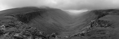 High Cup Nick (ca2cal) Tags: england cumbria highcupnick highcupgill pennines northpennines teesdale upperteesdale hill mountain fell micklefell murtonfell duftonfell rural landscape sky skyscape rock stream gill panorama storm mist fog foggy black white blackandwhite bw mono monotone rain