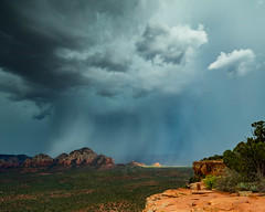 Onset of the deluge (johnny4eyes1) Tags: cloudburst desert downpour valleys rocky mountains thunderstorm monsoon clouds redrockcountry wild sedona mist cloudporn landscape verdevalley redrocks rainy environment geology rain travel arizona