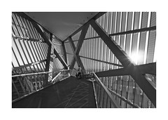 Hot Steel (memories-in-motion) Tags: germany dresden architecture modern city viewpoint outlook steel construction sun light shadow pattern lunix 714mm black white museum military history oldandnew lumixgvario714f40 wide panasonic
