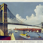 The great east river suspension bridge, connecting the cities of New York and Brooklyn published by Currier & Ives. Original from Library of Congress. Digitally enhanced by rawpixel. thumbnail