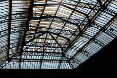 Bronze-Striped (Thomas Listl) Tags: thomaslistl color architecture graphical graphic geometry geometric stripes lines trainstation ceiling bronze blue paris france garedelest
