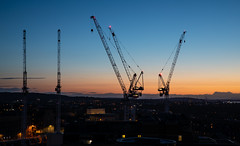 Cranes Over Edinburgh (Chris S B) Tags: edinburghscotlandunitedkingdomgb caltonhill constructioncranes bluehour skyline