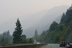 Misty Mountain (Whistler Whatever) Tags: mountain bc driving canada car road trees haze forestfire seatosky smog silhouette highway 99 smoke climate change