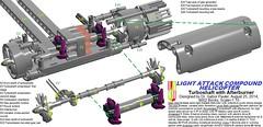 Figure 24: Turboshaft engine model with afterburner (Gabor Pauler) Tags: tlg lego technic legotechnic light attack compound helicopter rotary gun sidewinder aamram hellfire lau tow