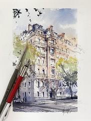 Paris - I love how the dappled sunlight paints these Parisian buildings. (alexhillkurtzart) Tags: fountainpen watercolor usk urbansketch paris
