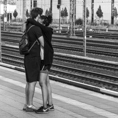 time to say goodbye (every pixel counts) Tags: 2018 berlin moabit sbahn station capital city platform everypixelcounts blackandwhite couple europa germany bw publictransport 11 people street blackwhite eu day berlinalive