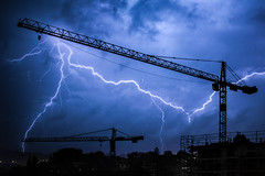 Cranes ride the lightning (Jerophoto) Tags: storm lightning crane cranes suisse switzerland swiss clouds éclair mont pelerin