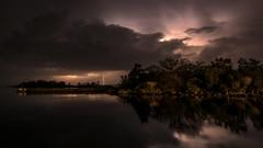 Åskväder rör sig mot Karlshamn (tonyguest) Tags: lightning åskväder åskoväder karlshamn blekinge sverige sweden blixt blixten harbour sea tonyguest stockholm clouds night water tree trees