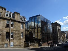 Blythswood Street descends Blythswood Hill (Wider World) Tags: scotland glasgow citycentre glass sandstone reflection clouds