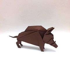 Origami Wild Boar (Orimin) Tags: origami art paper papercraft craft handmade animal mammal wild boar forest tusks brown original design mindaugas cesnavicius