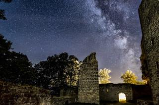 Sternenhimmel über Burg Gräfenstein