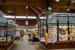 Market Musings (Sweeting Thorns) Tags: scunthorpe food market hall north lincolnshire council saturday weekend traditional 1970s electric clock wood wooden panel paneling stall vendor trader fresh produce fruit veg vegetables meat books bookstall roof open space light airy
