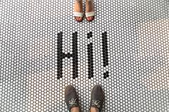 Hi (Beautiful)! (cookedphotos) Tags: toronto ontario canada ca canon 5dmarkiv streetphotography dundaswest brocktonvillage littleportugal safehousecoffee coffeeshop hi tiles floor typography man woman shoes feet meeting love romance 365project p3652018