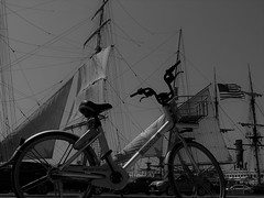Peddle to the Wind (Rand Luv'n Life) Tags: odc our daily challenge opposites star india tall masted sailing ship san diego embarcadero harbor california sails bicycle monochrome blackandwhite outdoor travel transportation composition