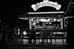 DSC_7672_4779. At the amusement park on a late summer night. (angelo appoloni) Tags: abruzzo pescara luna park notte luci e riflessi gente bianco nero night lights reflections people black white