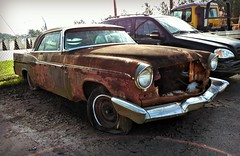 a Toothless grin (Dave* Seven One) Tags: chrysler newyorker 1950s classic vintage rusty rust rot rotted decaying patina junk salvage beyondrepair chrome dead abandoned forgotten