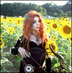 Jessica - Merida (mattbellphoto) Tags: sunflowers merida disney cosplay jessicajohn mossyfox mossyfoxcosplay hasselblad 500cm 80mmf28 kodak portra400 120 6x6 film c41