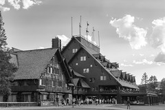 Old Faithful Inn (Jim Frazier) Tags: 2018 201807montana 201807yellowstone bw architectural architecture art blackandwhite buildings desaturated heritage historic historical history hotel inn jimfraziercom july landmarks landscape lodging monochrome mountains nationalpark nationalregisterofhistoricplaces nps nrhp old oldfaithfulinn people q3 rockymountains scenery scenic structures summer tourists vacation wood wooden wyoming yellowstone instagram