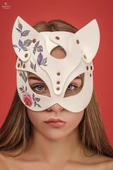 Girl with a cat mask (Eugine Li) Tags: girl portrait woman beauty beautiful red white studio
