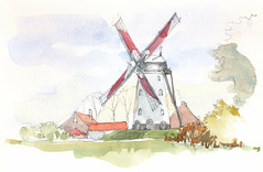 Hovaeremolen, Koekelare, België (Linda Vanysacker - Van den Mooter) Tags: koekelare belgië hovaeremolen belgium belgique westvlaanderen vlaanderen flandre flanders moulin molen mill watercolor watercolour visiblytalented vanysacker vandenmooter tekening sketch schets potlood pencil lindavanysackervandenmooter lindavandenmooter drawing dessin croquis crayon art aquarelle aquarell aquarel akvarell acuarela acquerello