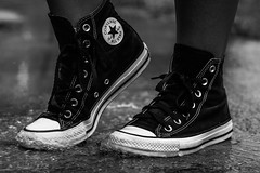 Timeless (_Lionel_08) Tags: shoes sneakers tennis chuck taylor converse black white street rain grey women feet wet gray