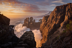 Collision (inkasinclair) Tags: pancake rocks sunset new zealand waves west coast south island paparoa punakaiki ocean landscape