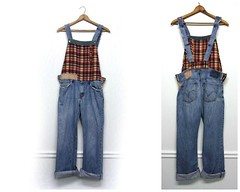 Denim Overalls, Distressed Denim Overalls, Boho Overalls, Patchwork Overalls, Funky Overalls, Upcycled Clothing by PrimitiveFringe (Primitive Fringe) Tags: upcycled clothing boho shabby chic handmade etsy mori girl