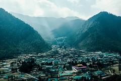 Bhutan: The Barracks of Haa. (icarium.imagery) Tags: bhutan drukyul himalayas architecture captureone cinematic colortint cyan hills landscape moody mountainrange mountains mysterious mystical nature rural sonydscrx1rm2 travel valley village haa barracks dzong