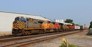CREX 1522, BNSF 9975, CN 2819, CREX 1505, CN 2843, BNSF 5428, Chapman, Neenah, 11 Aug 18