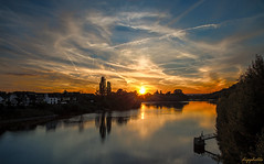 Sunset at Rhine (dipphotos) Tags: sunlight sunset river evening koblenz germany